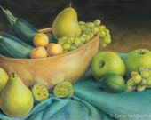 "Green vegetable & fruit still life with apples, grapes, pear, zucchini squash, golden plums, limes - Art Reproduction (Print) - ""Green"""