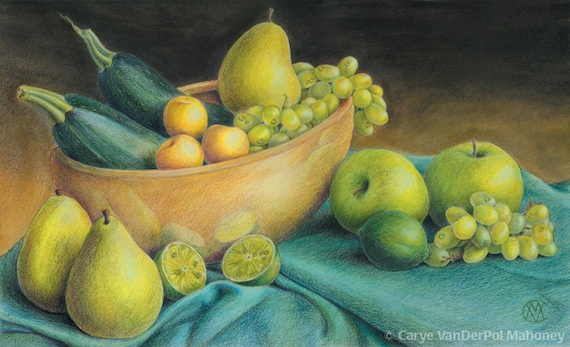 """Green vegetable & fruit still life with apples, grapes, pear, zucchini squash, golden plums, limes - Art Reproduction (Print) - """"Green"""""""