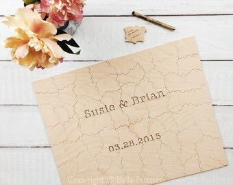 80 pc Wedding Guestbook Puzzle, custom guestbook alternative, WOOD puzzle guest book, Bella Puzzles™, rustic wedding, boho wedding