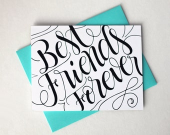 Best friends forever - BFF card - one card with a turquoise envelope