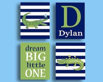 madras alligator art, Alligator baby nursery art, baby boys blue green decor, madras bedding art