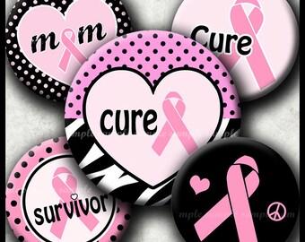 INSTANT DOWNLOAD Breast Cancer Pink Ribbon (020) 4x6 Bottle Cap Images Digital Collage Sheet  bottlecaps hair bows .  bottlecap images