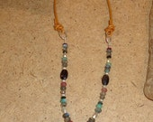 Tourmaline & Labradorite Silver Tribal Pendant Necklace Thai Number 9