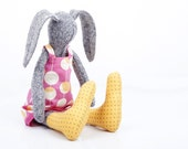 Plush gray rabbit doll made from knitted pure silk , stuffed bunny wearing pink yellow retro dress & yellow dotted socks - timohandmade doll