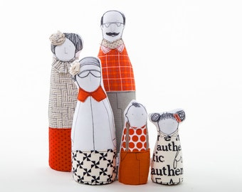 Soft sculptur Family portrait dolls - 3 adults and & 2 children ,Geometry Textures in Black , White , Red , Grey  - timo handmade eco dolls