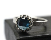 8mm London Blue Ring, Topaz Ring, Silver Tree Bark Ring, Blue Gemstone Cocktail Ring