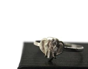 Large Elephant Ring, Elephant Face Ring, Silver Animal Ring, Animal Jewelry, Heffalump Ring