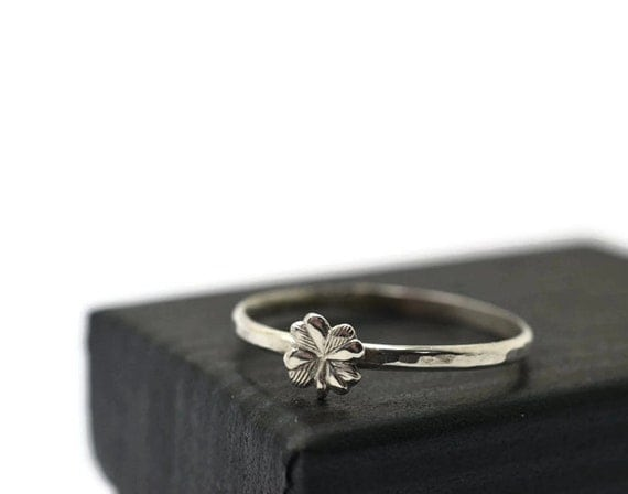 Sterling Silver Four Leaf Clover Ring, Nature Jewelry, Clover Jewelry, Good Luck Ring