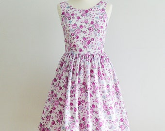 ON SALE, Vintage Inspired dress , Bridesmaid dress, Floral dress, size 4