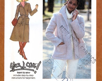 Simplicity 8745 Vintage 70s Misses' Unlined Coat or Jacket and Tie Belt Sewing Pattern - Uncut - Size 12 - Bust 34