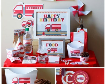 Fire Truck Birthday Party Decorations Printable - Firetruck Birthday Party - Instant Download - firetruck birthday banner - firetruck party