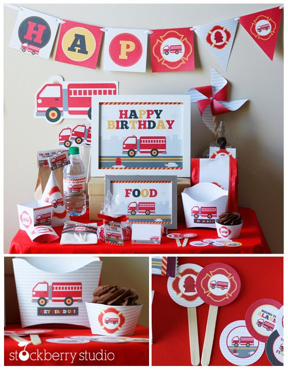 Fire truck birthday party decorations printable firetruck