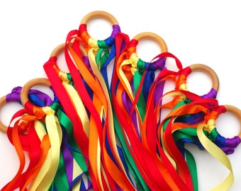10 Waldorf Rainbow Hand Kite Streamers, WHOLESALE Party Favor Pack