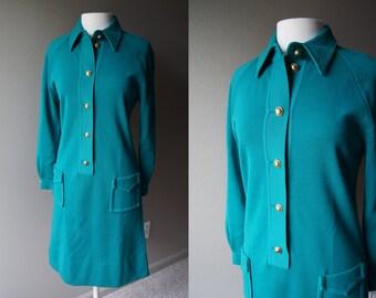 Vintage 60's MERINO WOOL Dress Teal Dress Sheath Dress Dress with Pockets Wool Dress Made in Italy Size 12 Large Dress Plus Dress Green