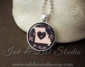 Floral Missouri State Necklace, Missouri Love Pendant, Missouri State Pendant, Missouri Gift, Pink Missouri State, MO State
