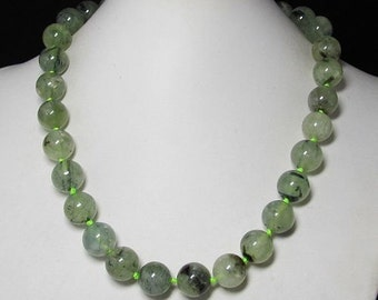 Necklace 18 inch IN Prehnite 14mm and 925 Silver