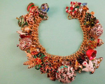 O Tannenbaum Christmas Charm Bracelet One of a Kind Repurposed Vintage Jewelry