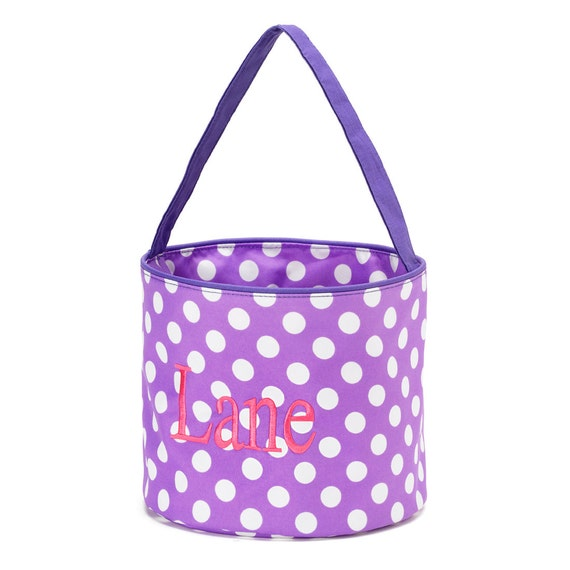 Bucket in Purple with White Polka Dots