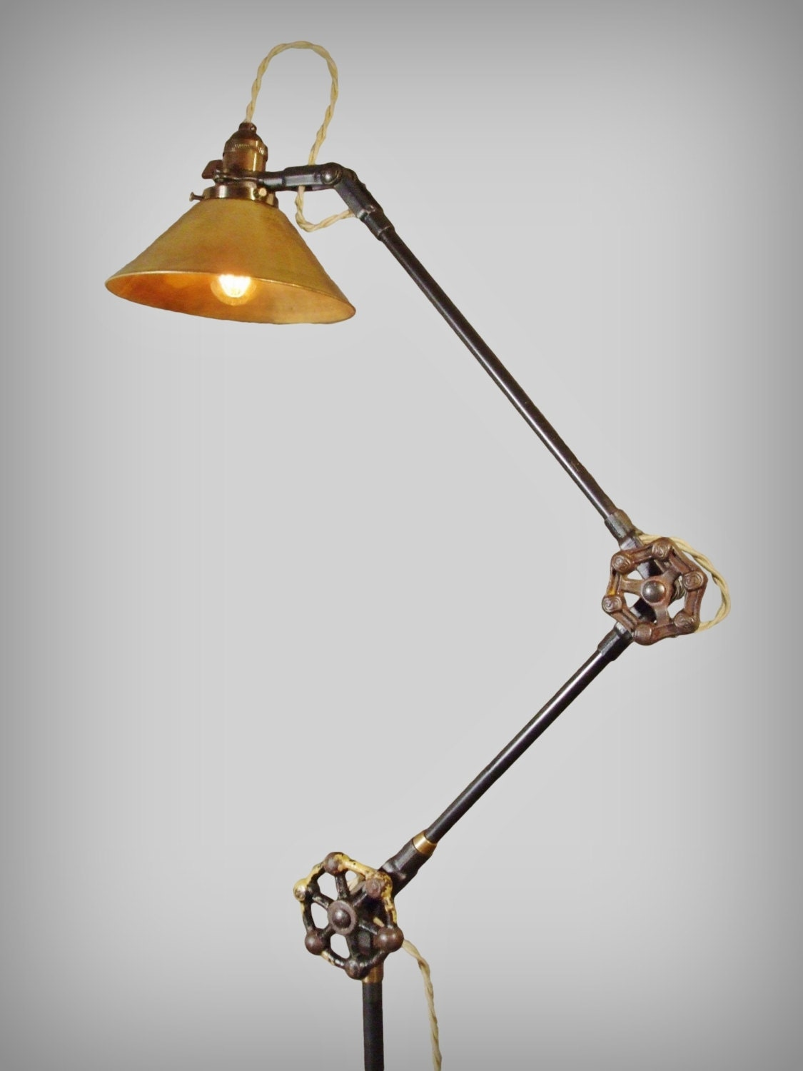 vintage industrial floor lamp machine age task light cast. Black Bedroom Furniture Sets. Home Design Ideas