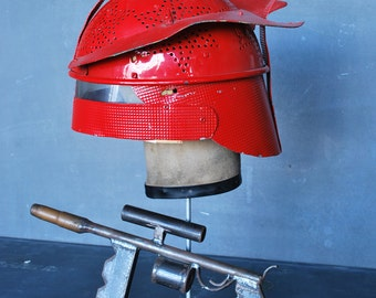 1950's Home Made Space Invaders Helmet and Weapon