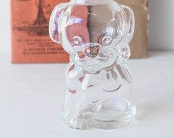 Manon Freres Puppy Perfume Bottle Novelty 1950s Clear Glass