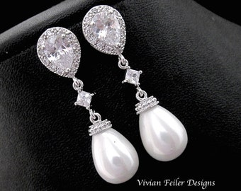 Wedding Earrings PEARL TEAR DROP Bridal Pearl Earrings Cubic Zirconia Wedding Jewelry Bridesmaid Gift Prom