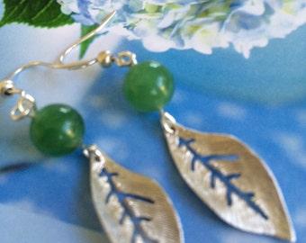 Silver Leaf and Jade Earrings