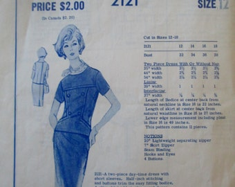 Modes Royale 2121 Women's 60s Two Piece Dress Blouse Skirt Sewing Pattern Bust 32