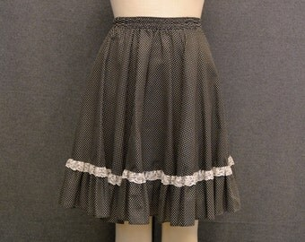 1970s Black Polka Dot and Ruffles Full Skirt