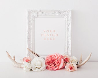 White Frame w/ Deer Antlers & Roses, Flowers, Valentines Stock Photography, Product / Frame Mockup Frame Mock Up, Wall Art Display Template