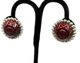 Unusual Earrings, Molded Plastic, Boho Style, Great Color - ca. 1950s