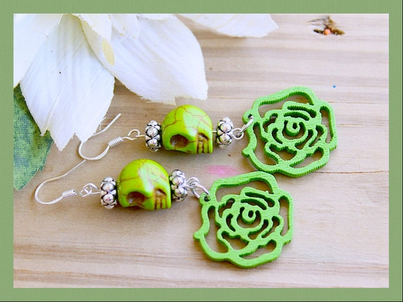 Melodrama Zombie Green Day of the Dead Gothic Skull Dangle Earrings, Howlite , Wooded Roses, Sterling Sliver Post By: Tranquilityy