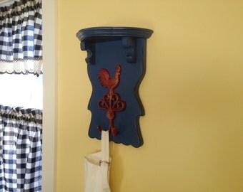 French Farmhouse Kitchen Shelf with Iron Hook - Wooden Shelf Rack
