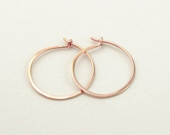 Classic Rose Gold Hoops, Hammered Wire Hoops, Tiny Hoop Earrings, Gold Plated Wire, Minimalist, Modern Jewelry, Gift for Mom, EA003