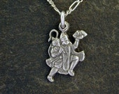 Sterling Silver Hindu God Hanuman Pendant on a Sterling Silver Chain