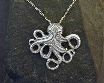 Sterling Silver Octopus Pendant on a Sterling Silver Chain