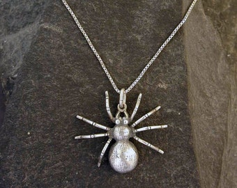 Sterling Silver Spider Pendant on a Sterling Silver Chain.