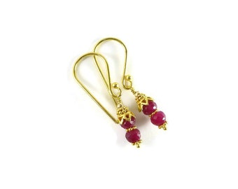 Ruby Earrings, Ruby Jewelry, Birthstone Jewelry, Red Stone Earrings, Gemstone Jewelry