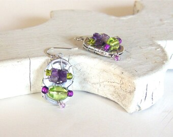 Hand-wired SODA TAB EARRINGS - amethyst earrings - silver, purple, apple green - for teens and adults - upcycled/recycled - under 15.00