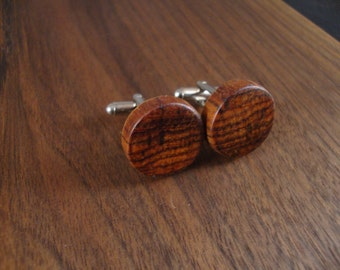Wooden Round Cuff Links - Cocobolo wood - Wedding, anniversary, any Special Occasion