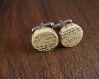 Wooden Round Cuff Links - Hackberry wood - Wedding, anniversary, any Special Occasion