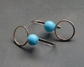 Minimalist sterling silver earrings with turquoise. Silver earrings. Gemstone earrings. Silver jewellery. Handmade