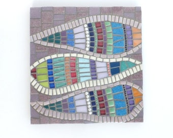 Mosaic Art, Feather abstract art, mosaic wall decor in purple