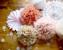 Wedding Decor ...  Paper Pom Decorations  ... Neutral Nude Blush Pink // Bridal Baby Shower // Soft Romantic Shabby Chic // 1st Birthday