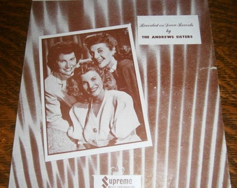 Near You Vintage Sheet Music 1940s Musical Ephemera The Andrews Sisters