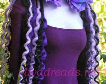 Mixed Purples, and Black Super Curly Dread lock falls
