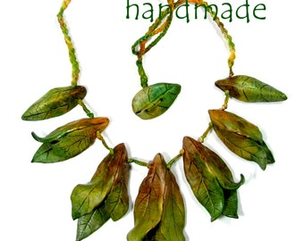 Polymer Clay Realistic Autumn Leaves Necklace, 3D Leaves Necklace