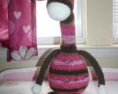 """Crochet Giraffe Plush / Large Giraffe Doll Striped Giraffe / Large Plush Toy 26"""" Tall Giraffe Amigurumi Ready to Ship"""
