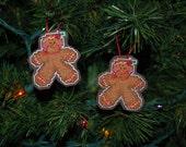Gingerbread Men (set of 2) Cross Stitch Ornaments