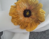 Large Silk , Felt, Brooch beaded  centre,yellow and black , Sunflower
